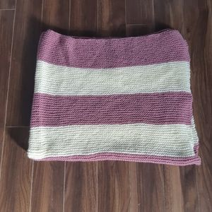 Purple and Cream Knit Blanket
